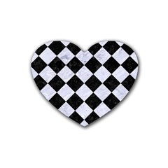Square2 Black Marble & White Marble Rubber Heart Coaster (4 Pack) by trendistuff