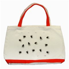 Flies Classic Tote Bag (red) by Valentinaart