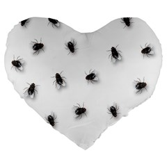 Flies Large 19  Premium Heart Shape Cushions by Valentinaart