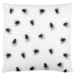 Flies Large Flano Cushion Case (one Side) by Valentinaart