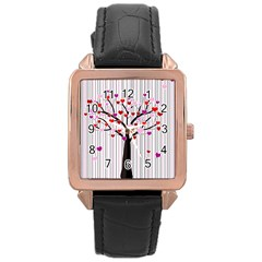 Valentine s Day Tree Rose Gold Leather Watch