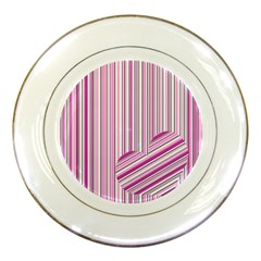Pink Love Pattern Porcelain Plates by Valentinaart