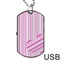 Pink Love Pattern Dog Tag Usb Flash (one Side) by Valentinaart