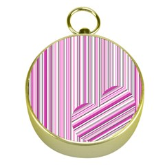 Pink Love Pattern Gold Compasses by Valentinaart