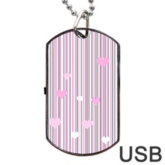 Pink Love Dog Tag Usb Flash (two Sides) by Valentinaart