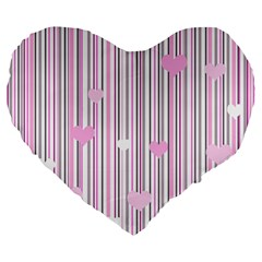 Pink Love Large 19  Premium Flano Heart Shape Cushions by Valentinaart