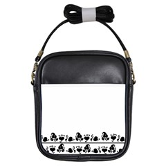 Simple Black And White Design Girls Sling Bags
