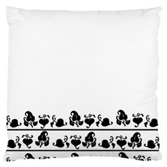 Simple Black And White Design Large Flano Cushion Case (one Side) by Valentinaart