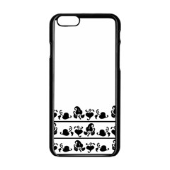 Simple Black And White Design Apple Iphone 6/6s Black Enamel Case by Valentinaart