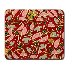 Pizza Pattern Large Mousepads by Valentinaart