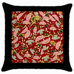 Pizza Pattern Throw Pillow Case (black) by Valentinaart