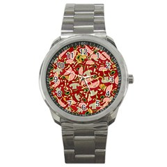 Pizza Pattern Sport Metal Watch by Valentinaart