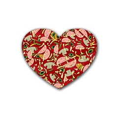 Pizza Pattern Rubber Coaster (heart)  by Valentinaart