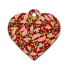 Pizza Pattern Dog Tag Heart (one Side)