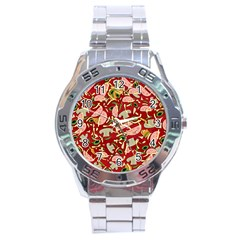 Pizza Pattern Stainless Steel Analogue Watch by Valentinaart