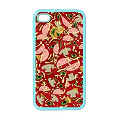 Pizza Pattern Apple Iphone 4 Case (color) by Valentinaart