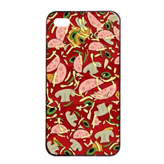 Pizza Pattern Apple Iphone 4/4s Seamless Case (black) by Valentinaart