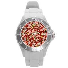 Pizza Pattern Round Plastic Sport Watch (l) by Valentinaart