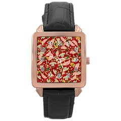 Pizza Pattern Rose Gold Leather Watch