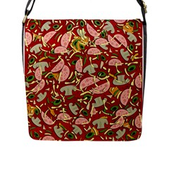 Pizza Pattern Flap Messenger Bag (l)  by Valentinaart