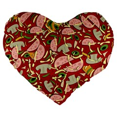 Pizza Pattern Large 19  Premium Flano Heart Shape Cushions by Valentinaart