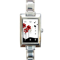 Flowers Rectangle Italian Charm Watch by Valentinaart