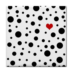 Dots And Hart Tile Coasters by Valentinaart