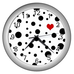 Dots And Hart Wall Clocks (silver)  by Valentinaart