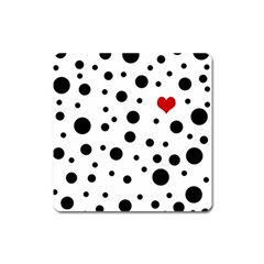 Dots And Hart Square Magnet by Valentinaart