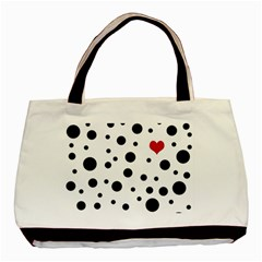 Dots And Hart Basic Tote Bag (two Sides) by Valentinaart