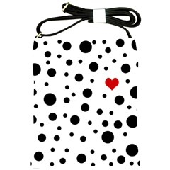 Dots And Hart Shoulder Sling Bags by Valentinaart