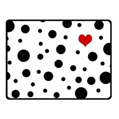 Dots And Hart Fleece Blanket (small) by Valentinaart