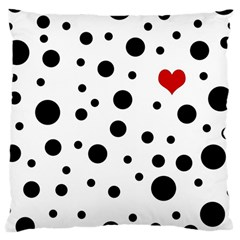 Dots And Hart Large Cushion Case (two Sides) by Valentinaart