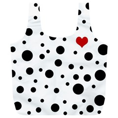 Dots And Hart Full Print Recycle Bags (l)  by Valentinaart