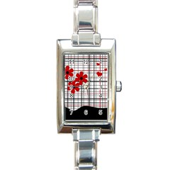 Cute Floral Desing Rectangle Italian Charm Watch by Valentinaart