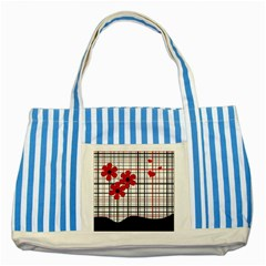 Cute Floral Desing Striped Blue Tote Bag by Valentinaart