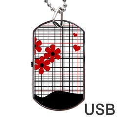 Cute Floral Desing Dog Tag Usb Flash (one Side) by Valentinaart