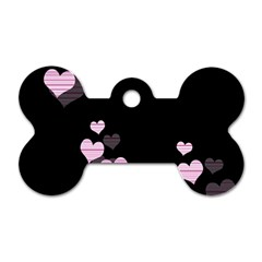 Pink Harts Design Dog Tag Bone (two Sides) by Valentinaart