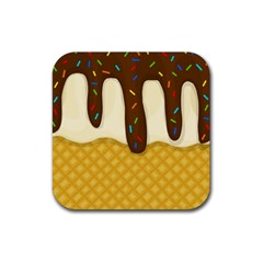 Ice Cream Zoom Rubber Coaster (square)  by Valentinaart