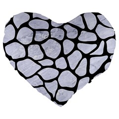 Skin1 Black Marble & White Marble Large 19  Premium Heart Shape Cushion by trendistuff