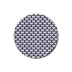 Scales3 Black Marble & White Marble (r) Rubber Coaster (round)
