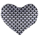 SCALES3 BLACK MARBLE & WHITE MARBLE (R) Large 19  Premium Flano Heart Shape Cushion Front