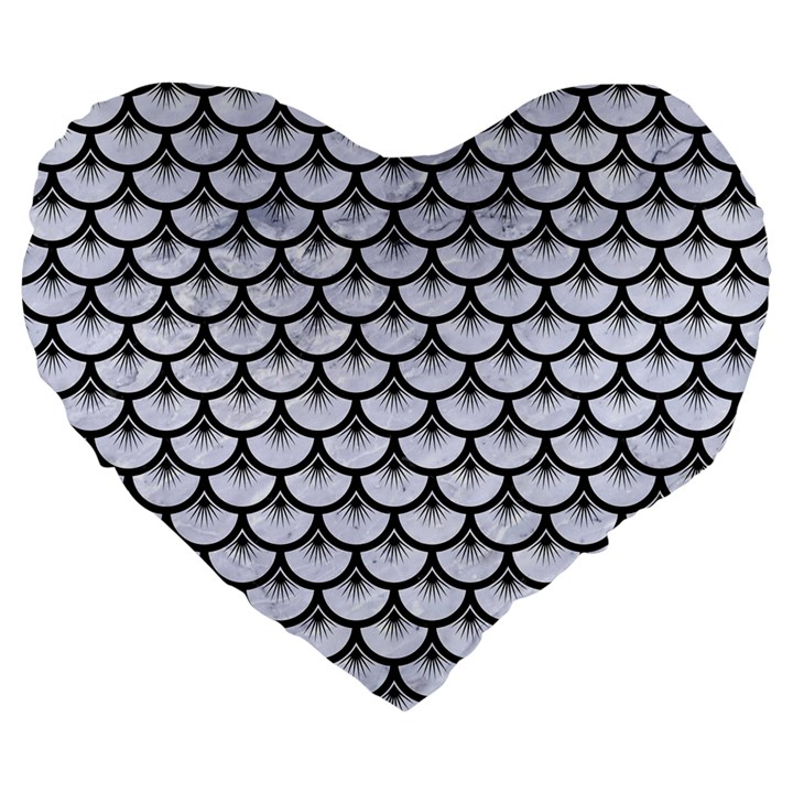 SCALES3 BLACK MARBLE & WHITE MARBLE (R) Large 19  Premium Flano Heart Shape Cushion