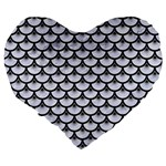 SCALES3 BLACK MARBLE & WHITE MARBLE (R) Large 19  Premium Flano Heart Shape Cushion Back