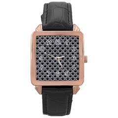 Scales2 Black Marble & White Marble Rose Gold Leather Watch  by trendistuff