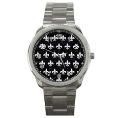 Royal1 Black Marble & White Marble (r) Sport Metal Watch by trendistuff