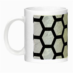 Hexagon2 Black Marble & White Marble (r) Night Luminous Mug