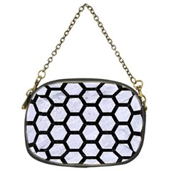 Hexagon2 Black Marble & White Marble (r) Chain Purse (one Side) by trendistuff
