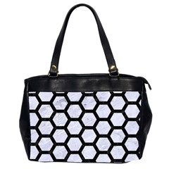Hexagon2 Black Marble & White Marble (r) Oversize Office Handbag (2 Sides) by trendistuff