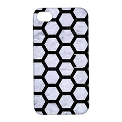 Hexagon2 Black Marble & White Marble (r) Apple Iphone 4/4s Hardshell Case With Stand by trendistuff